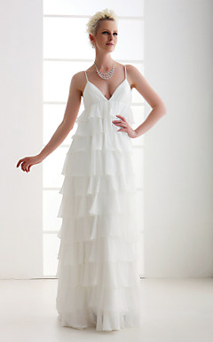 A-line Spaghetti Straps Asymetrical Chiffon Wedding Dress