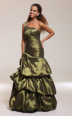 Trumpet/Mermaid One Shoulder Ruched Floor-length Taffeta Evening Dress