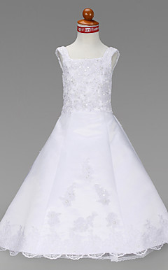 A-line Square Floor-length Lace Flower Girl Dress