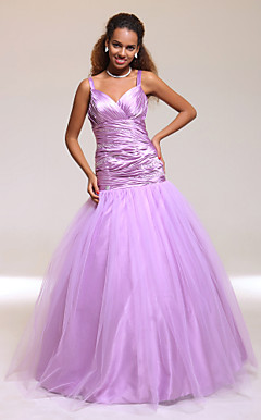 Ball Gown Spaghetti Straps Floor-length Stretch Satin And Tulle Prom Dress