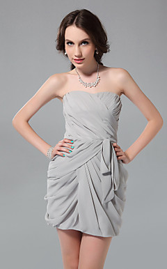 Sheath/ Column Strapless Short/ Mini Chiffon Cocktail Dress