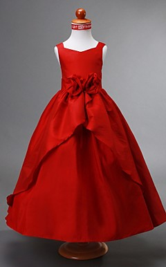Ball Gown V-neck Ankle-length Taffeta Flower Girl Dress