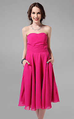 A-line Sweetheart Tea-length Chiffon Bridesmaid Dress