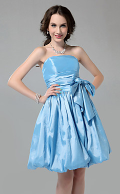 A-line Strapless Knee-length With Bow Taffeta Bridesmaid Dress With Bow