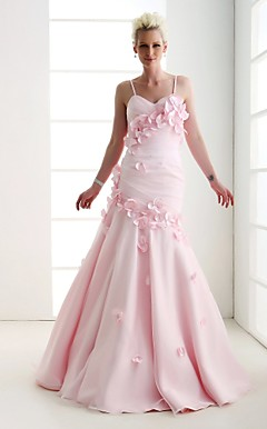 Trumpet/Mermaid Spaghetti Straps Sweetheart Floor-length Organza Satin Evening Dress