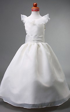 Ball Gown Jewel Floor-length Organza Flower Girl Dress