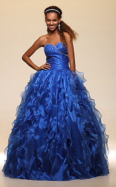 Ball Gown Sweetheart Floor-length Satin Organza Evening/Prom Dress