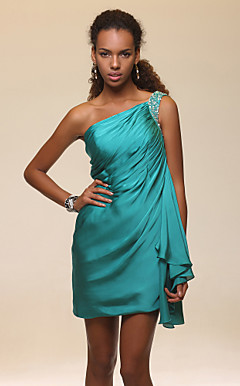 Sheath/Column One Shoulder Short/Mini Satin Chiffon Cocktail Dress