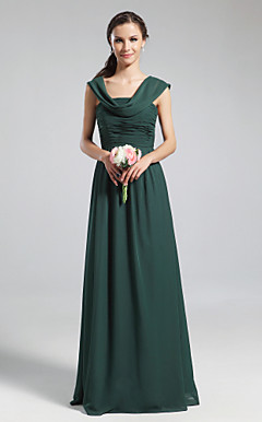 A-line Cowl Floor-length Chiffon Bridesmaid Dress
