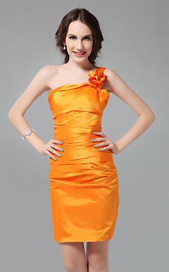 Sheath/Column One Shoulder Short/Mini Taffeta Bridesmaid Dress
