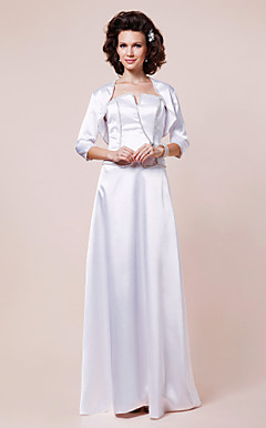 Sheath/Column Floor-length Stretch Satin Mother of the Bride Dress With A Wrap