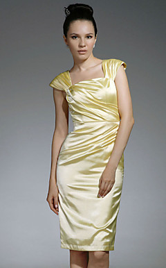Stretch Satin Sheath/ Column Square Knee-length Cocktail Dress inspired by Jennifer Westfeldt at Emmy Award
