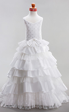Ball Gown V-neck Court Train Taffeta Lace Flower Girl Dress