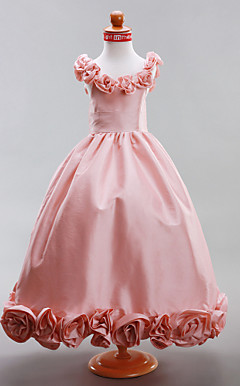 A-line Scoop Floor-length Taffeta Flower Girl Dress