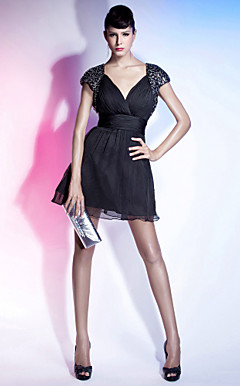 A-line V-neck Short/ Mini Organza Cocktail Dress