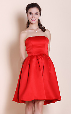 A-line Princess Strapless Knee-length Satin Bridesmaid/ Wedding Party Dress