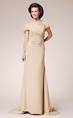 A-line V-neck Sweep/ Brush Train Chiffon Evening Dress