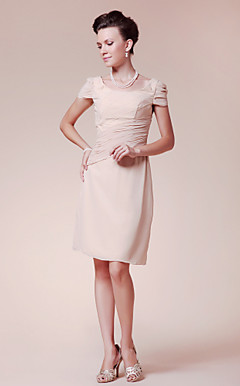 Sheath/ Column Scoop Knee-length Chiffon Mother of the Bride Dress
