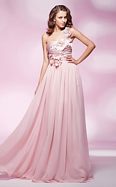 Sheath/Column One Shoulder Floor-length Chiffon And Stretch Satin Evening Dress
