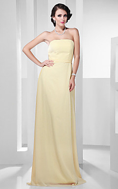 Chiffon Sheath/ Column Strapless Floor-length Evening Dress inspried by Zoe Saldana