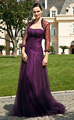 A-line Strapless Floor-length Tulle Mother of the Bride Dress With A Wrap