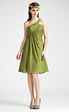 A-line One Shoulder Empire Knee-length Chiffon Bridesmaid Dress