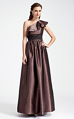 A-line One Shoulder Floor-length Taffeta Satin Bridesmaid Dress
