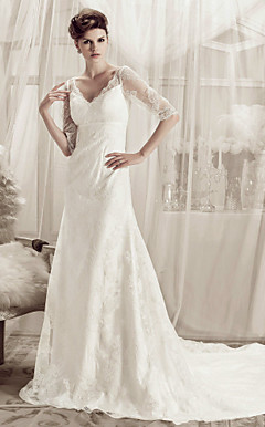 A-line V-neck Court Train Lace Over Satin Wedding Dress