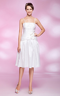 A-line Princess Spaghetti Straps Knee-length Taffeta Cocktail Dress