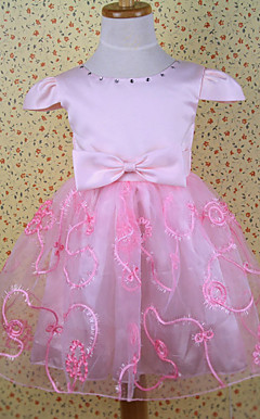 Ball Gown/Princess Jewel Knee-length Satin With Beading/Bow Flower Girl Dress