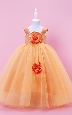 Ball Gown Square Straps Floor-length Tulle Over Satin Flower Girl Dress