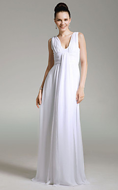 Chiffon Sheath/ Column V-neck Floor-length Evening Dress