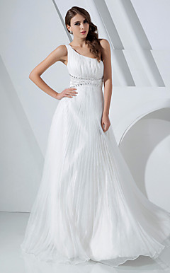 A-line One Shoulder Floor-length Organza And Satin Evening Dress