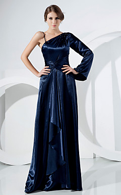 A-line Sweep/ Brush Train Stretch Satin Evening Dress