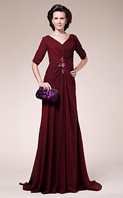 Sheath/ Column V-neck Sweep/ Brush Train Chiffon Mother of the Bride Dress