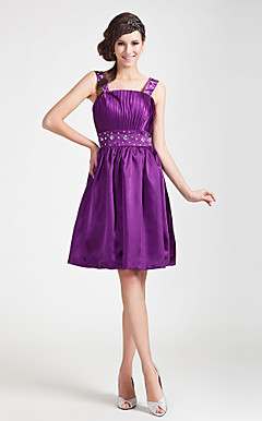 A-line Straps Knee-length Stretch Satin Bridesmaid Dress