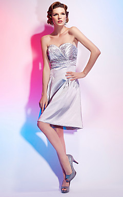 A-line Sweetheart Knee-length Stretch Satin Cocktail Dress