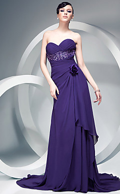 Sheath/Column Chiffon Over Charmeuse Evening Dress With Flowers And Court Train