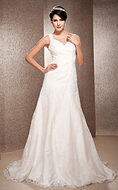 A-line Satin And Lace Wedding Dress With Straps And Court Train