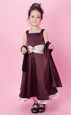 A-line Tea-length Flower Girl Dress With Square Neck In Stretch Satin And Organza