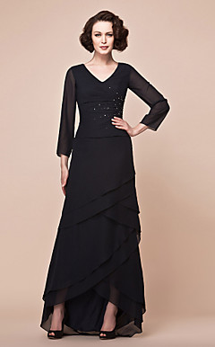A-line V-neck Asymmetrical Chiffon And Matte Satin Mother Of The Bride Dress
