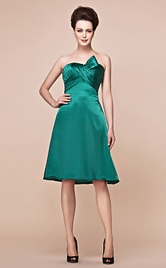 A-line Strapless Knee-length Charmeuse Mother Of The Bride Dress