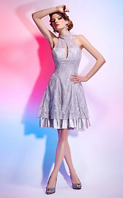 AMENE - Robe de Cocktail Satin Dentelle