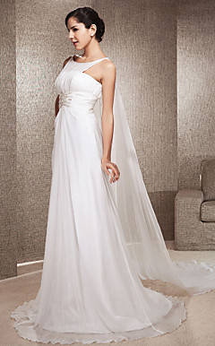 A-line Jewel Neck Watteau Train Chiffon Wedding Dress