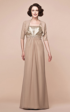 Sheath/Column Floor-length Chiffon And Stretch Satin Mother Of The Bride Dress With A Wrap