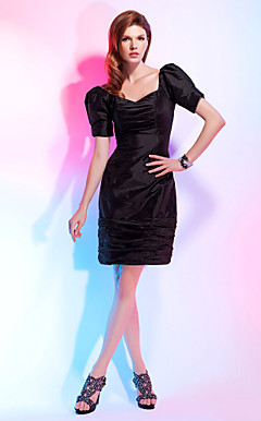 Sheath/Column V-neck Knee-length Taffeta Cocktail Dress