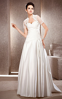 Sheath/Column Strapless Floor-length Satin Wedding Dress With A Wrap