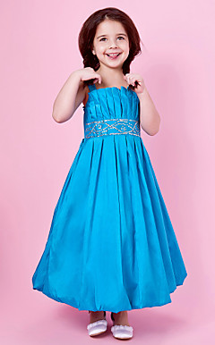 A-line Sequined Tea-length Taffeta Flower Girl Dress With Straps And Bow