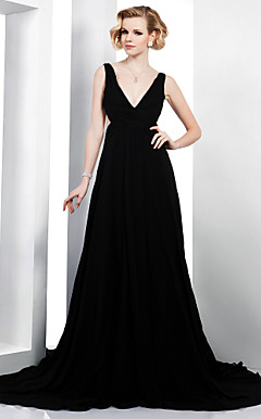 A-line V-neck Court Train Chiffon Elastic Woven Satin Evening Dress