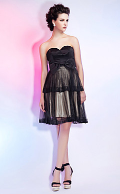 A-line Sweetheart Knee-length Organza And Satin Cocktail Dress